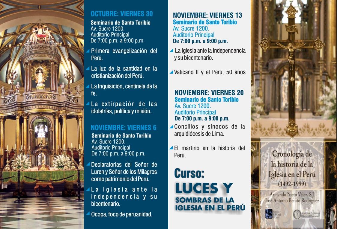 """Curso """"Luces y sombras de la Iglesia en el Perú"""" 30 OCT"""